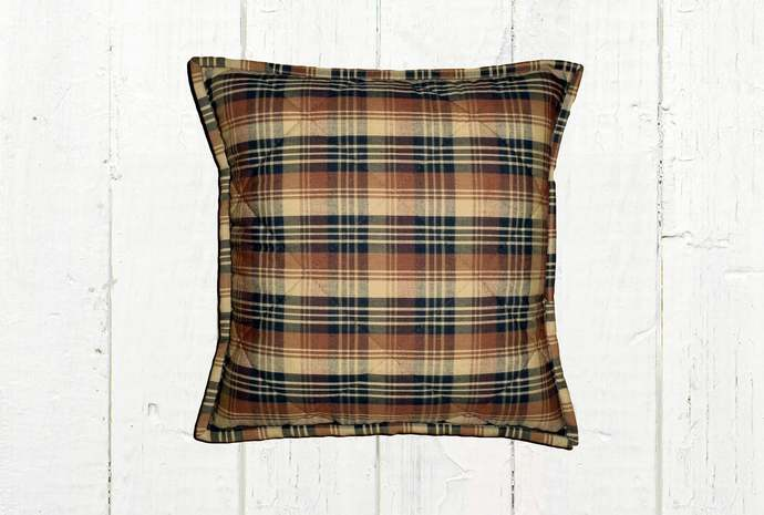 Quilted Top Pillow Covers / Black Brown & Tan Plaid 1083 / Farmhouse Country