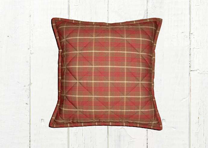 Quilted Top Pillow Covers / Red Brown & Tan Plaid 1091 / Farmhouse Country