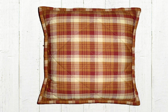 Quilted Top Pillow Covers / Red Mustard Gold Cream Plaid 1085/ Farmhouse Country