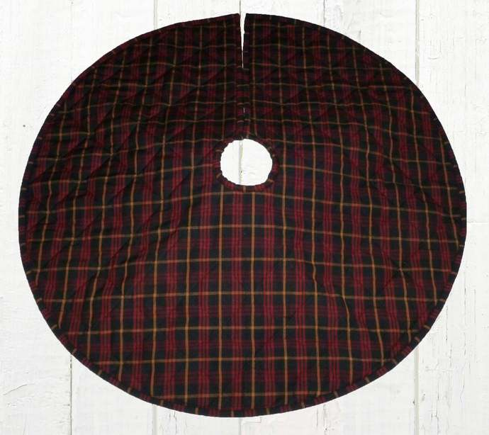 Quilted Christmas Tree Skirt / Red Black Mustard Gold Plaid / 25, 30, 35, 40 in