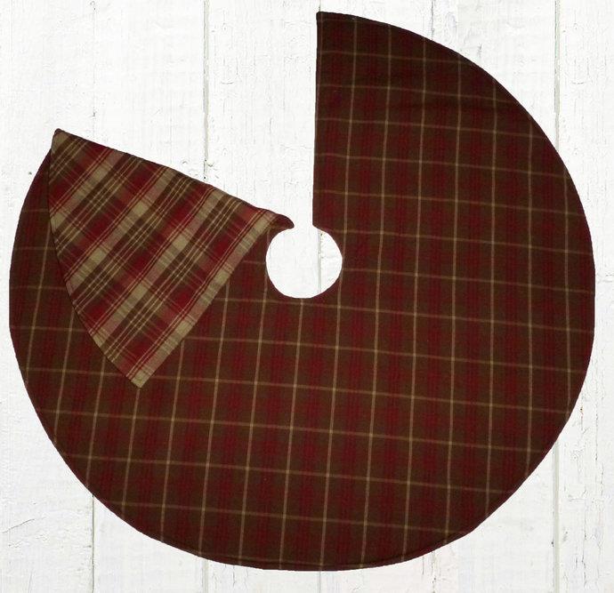 Reversible Christmas Tree Skirt / Red Brown Tan Plaid / 20, 25, 30, 35, 40 /