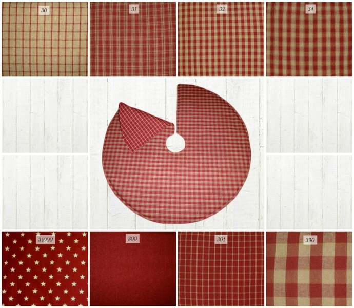 Reversible Christmas Tree Skirt / Red & Tan Plaid Check Star Solid / 20, 25, 30,