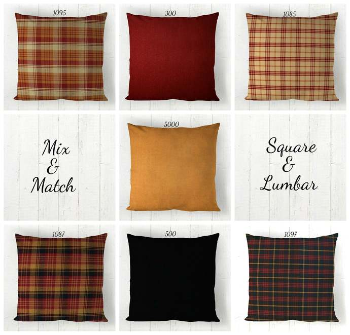 Pillow Cover Red Mustard Gold w/ Cream  or Black Plaid Solid,  Farmhouse Rustic