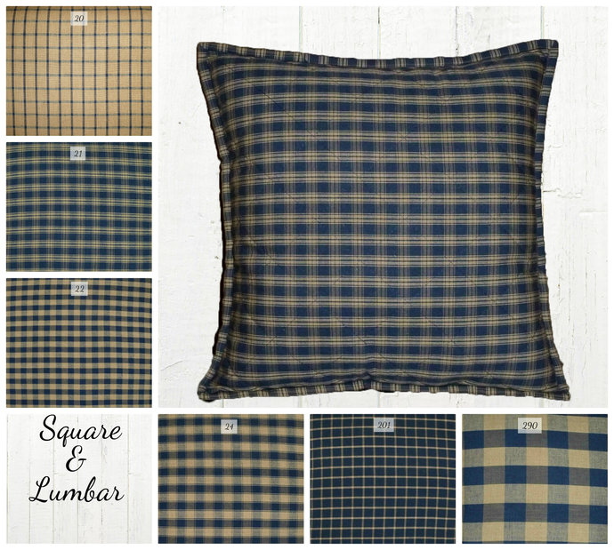 Quilted Top Pillow Covers / Navy Blue & Tan Plaid / Farmhouse Country Rustic /