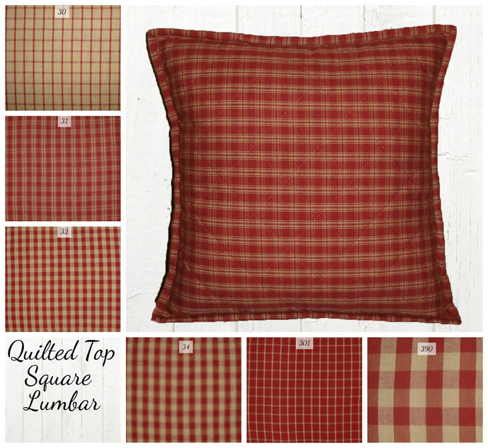 Quilted Top Pillow Covers / Red Tan Homespun  Plaid / Farmhouse Country Rustic