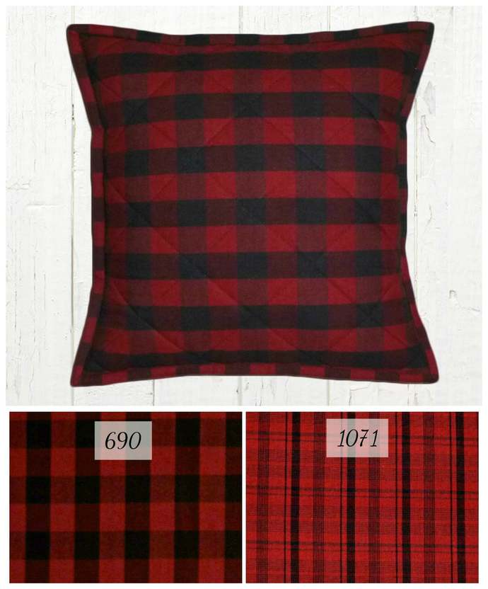 Quilted Top Pillow Covers / Red & Black Check Plaid / Farmhouse Country Rustic