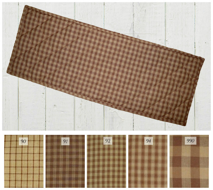 Quilted Table Runner Placemats / Brown & Tan Plaid / Rustic Cabin Country