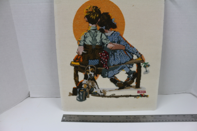 Finished Needlepoint of Boy and Girl Gazing at the Moon from 1972 by Norman