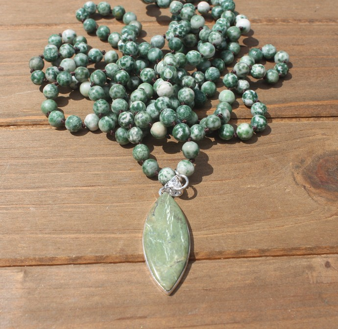 Long Green Long Double Wrap Beaded Necklace Hand Knot Jewelry by KnottedUp