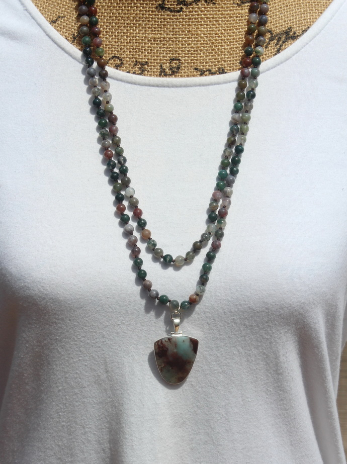 New Aquaprase Jewelry Long Double wrap Beaded Necklace with Pendant by KnottedUp