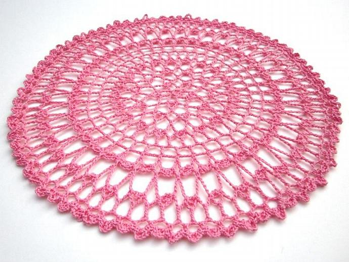 New Handmade Crocheted Pink Cotton Cloth Doily for sale
