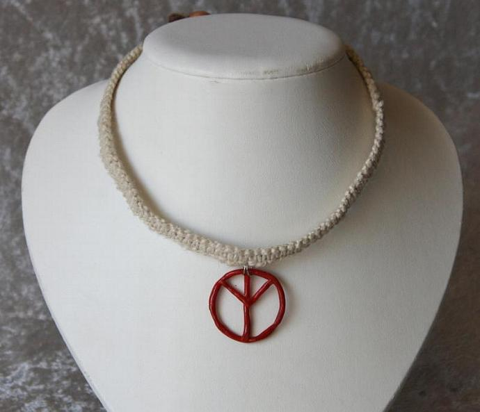 OOAK Simple Hemp Choker with Red Peace Sign - TPA