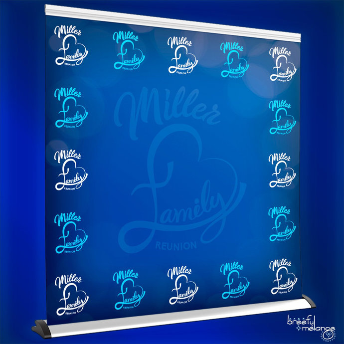 Step and Repeat Family Love Reunion Backdrop Banner, Customize for Your Event,