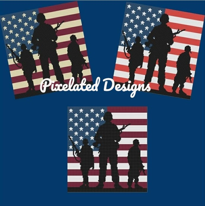 Soldiers w/ American Flag Lapghan - SC - 140x150 - Graphs w/Written