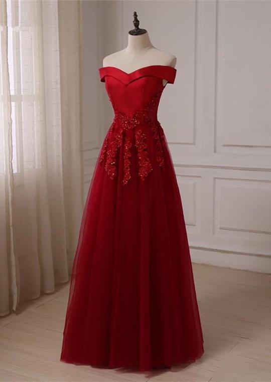 Burgundy Off Shoulder Sleeveless Prom Dresses Lace Applique Evening Dresses,