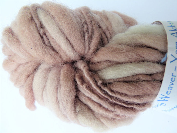 Thick and Thin Yarn Natural / Eco Dyed with Cherry – Organic Corriedale Wool –