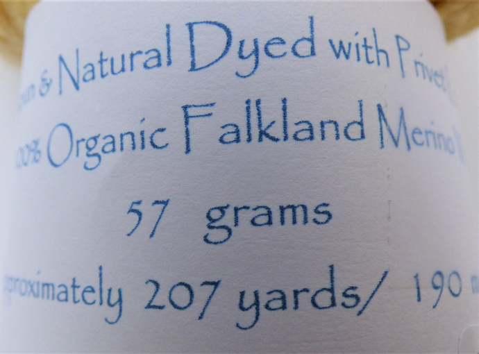 Handspun Yarn Natural / Eco Solar Dyed with Privet – 100% Organic Merino – 57