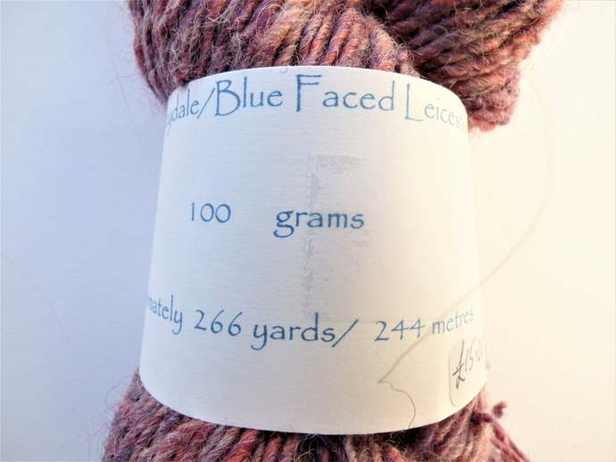 Handspun Yarn – Merino, Wensleydale and Blue Faced Leicester Wool – 100 grams –