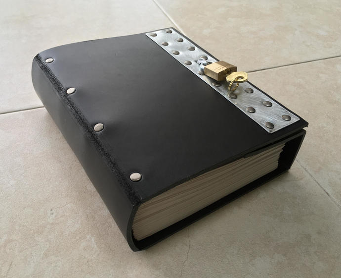 Black Industrial Goth Lockable Steampunk Leather Journal. The Thick Version.