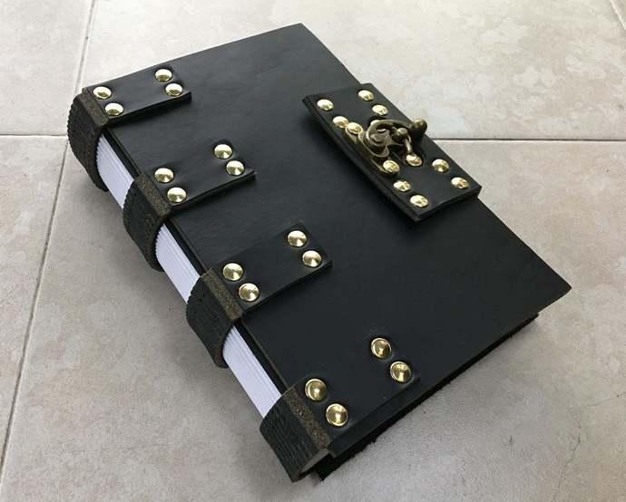 Elegant Black Ninja Goth Steampunk Latchable Leather Journal. Black Leather,
