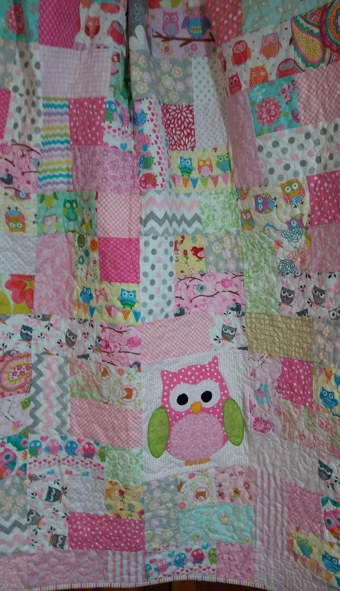 baby girl quilt, pink owl crib quilt, Handmade ready to ship owl nursery blanket