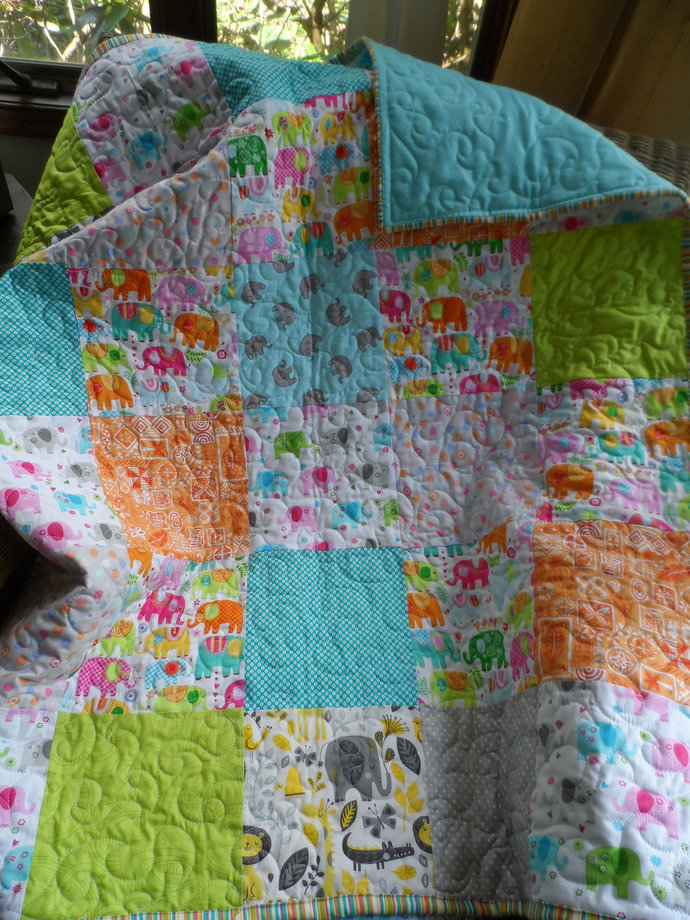 Baby quilt, elephant baby quilt, gender neutral nursery blanket, patchwork