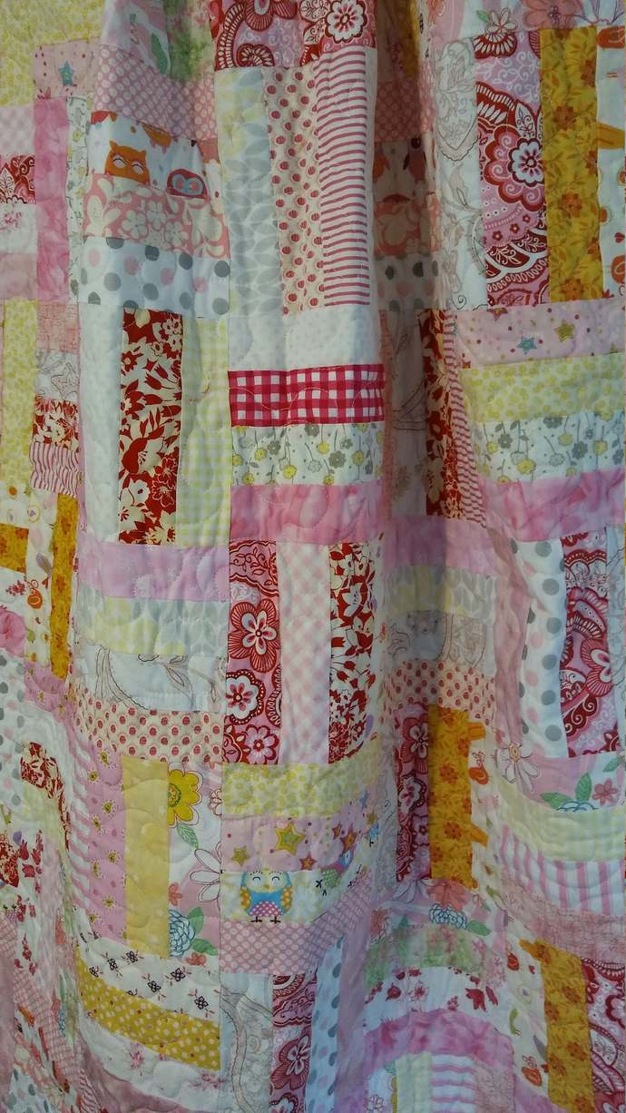 Shabby chic couch throw, traditional pattern white with bright pink yellow and