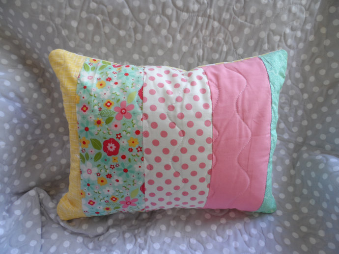 Pastel striped pillow with quilted top and envelope backing, all cotton for 12