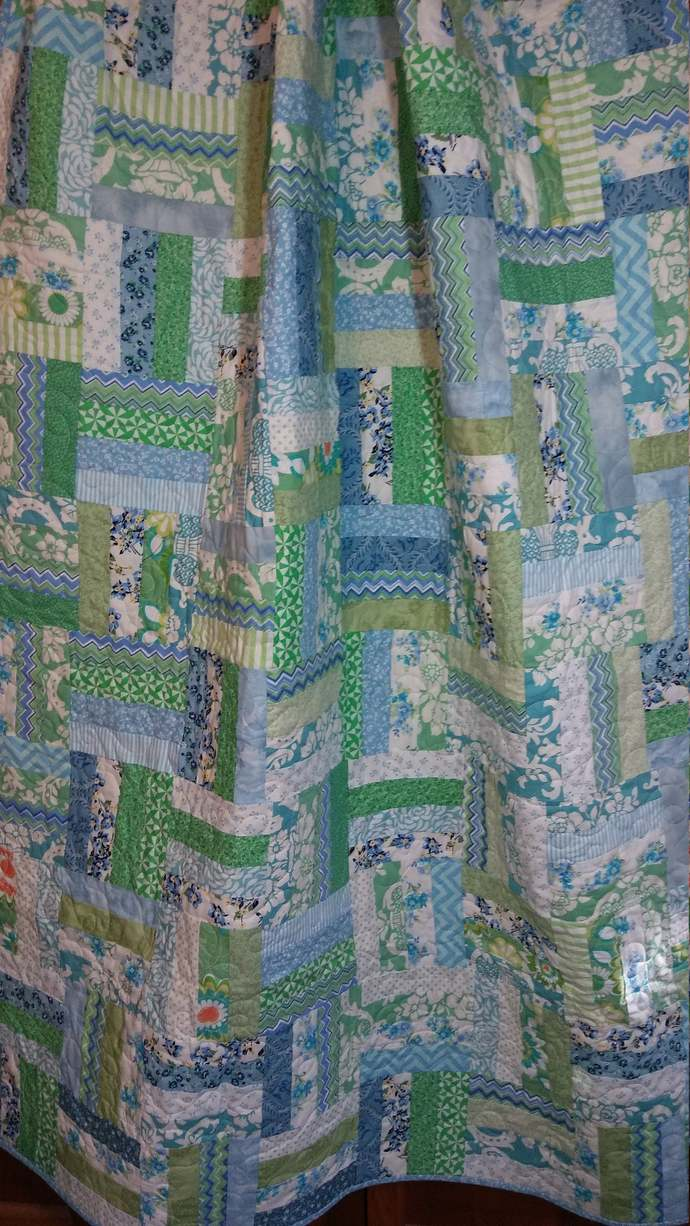 Blue and green lap quilt, couch throw