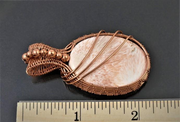 Solecite Copper Pendant; Wire Woven Wrapped Pendant (P137)