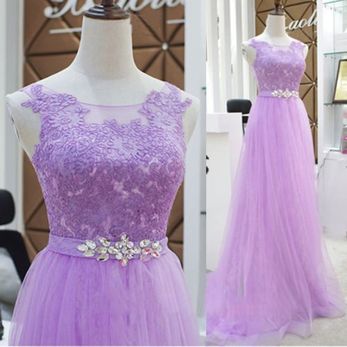 Elegant Tulle A Line Prom Dress with Appliques, Long Evening Party Dress