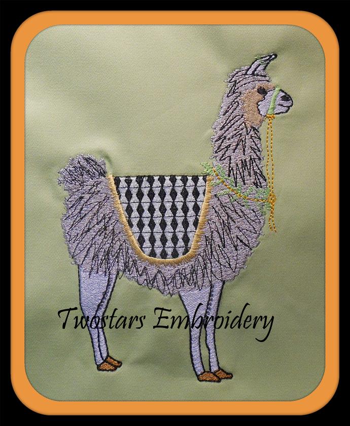 Lama in fill stitch machine embroidery. Sizes 4x4 5x7  digital machine