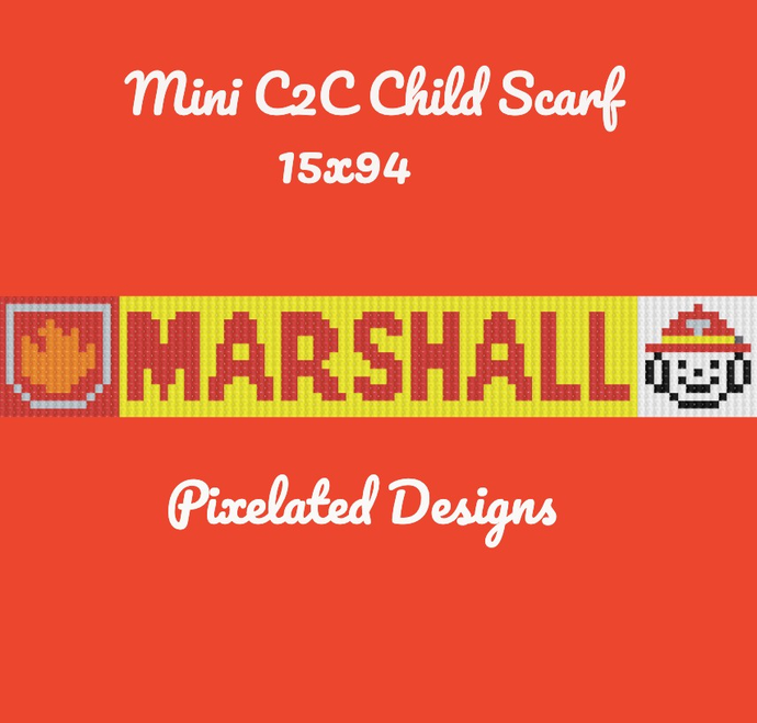 Marshall & Badge Paw Patrol Child Scarf - Mini C2C - 15x94 - Graph w/Written