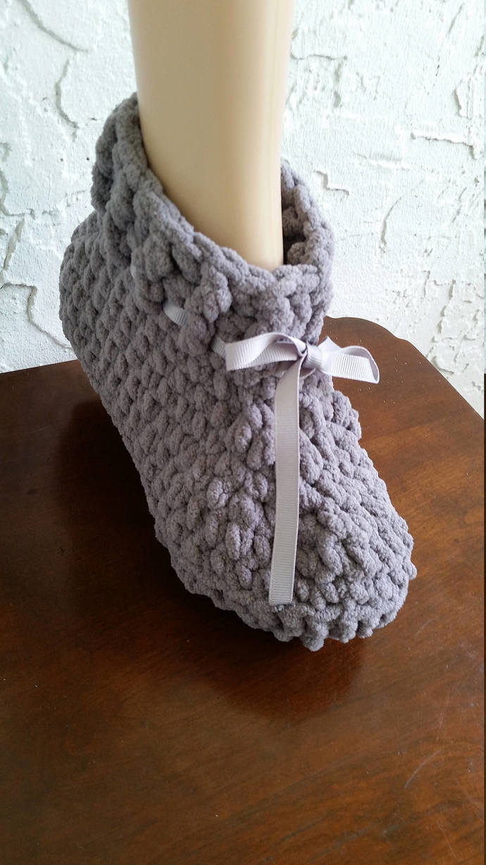 hand crochet cozy women's slippers bootie style slippers grey slippers comfy