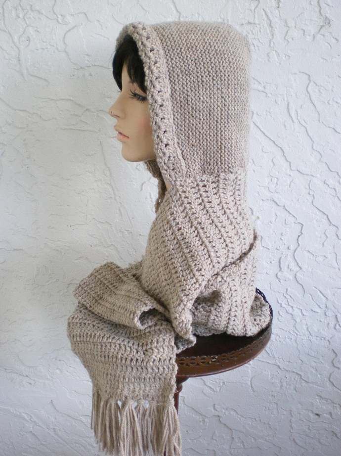 hand knit hood scarf hat crochet scarf womens accessories hood hat scoodie