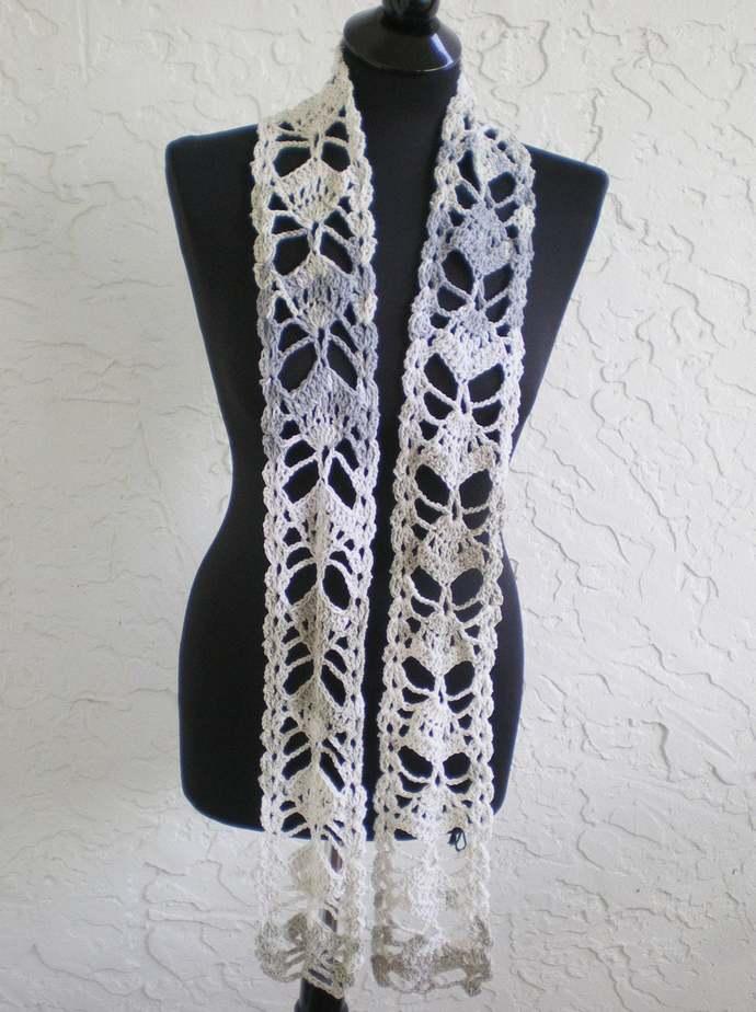 hand crochet scarf ~ fan ~ multi mix natural grey light beige stone