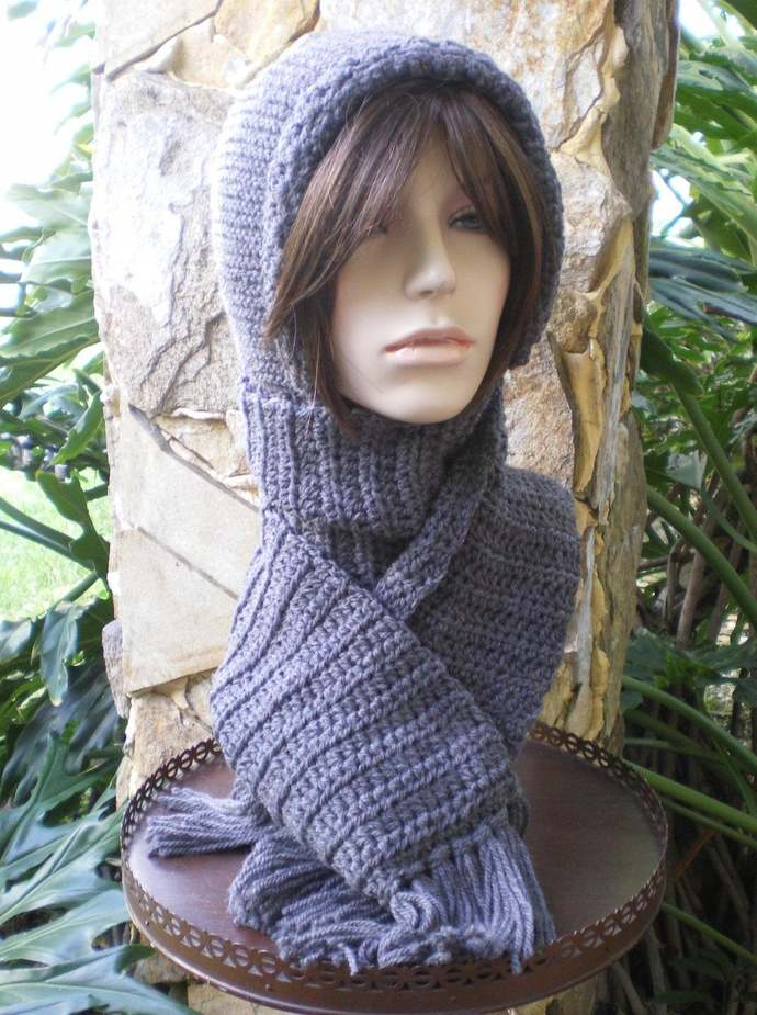hand knit hood scarf hat crochet scarf winter hat womens accessories attached