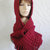 hand knit hood scarf hat crochet scarf womens accessories scoodie winter hat