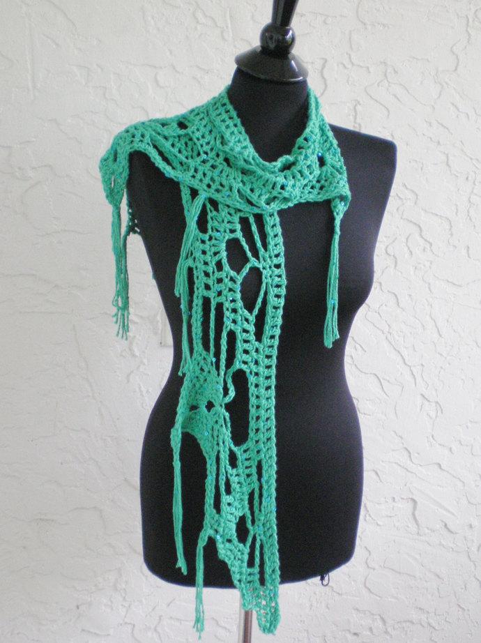 hand crochet scarf shawl women scarf green scarf evening shawl lacy scarf womens