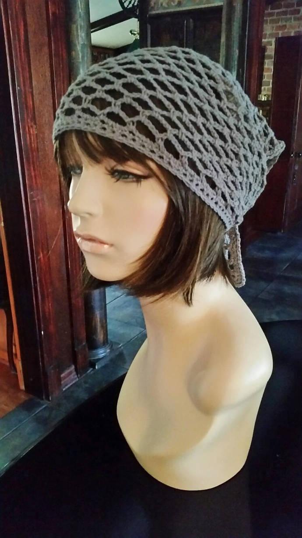 hand crochet grey bandana dorag women men dreadlock hair net women accessories ~