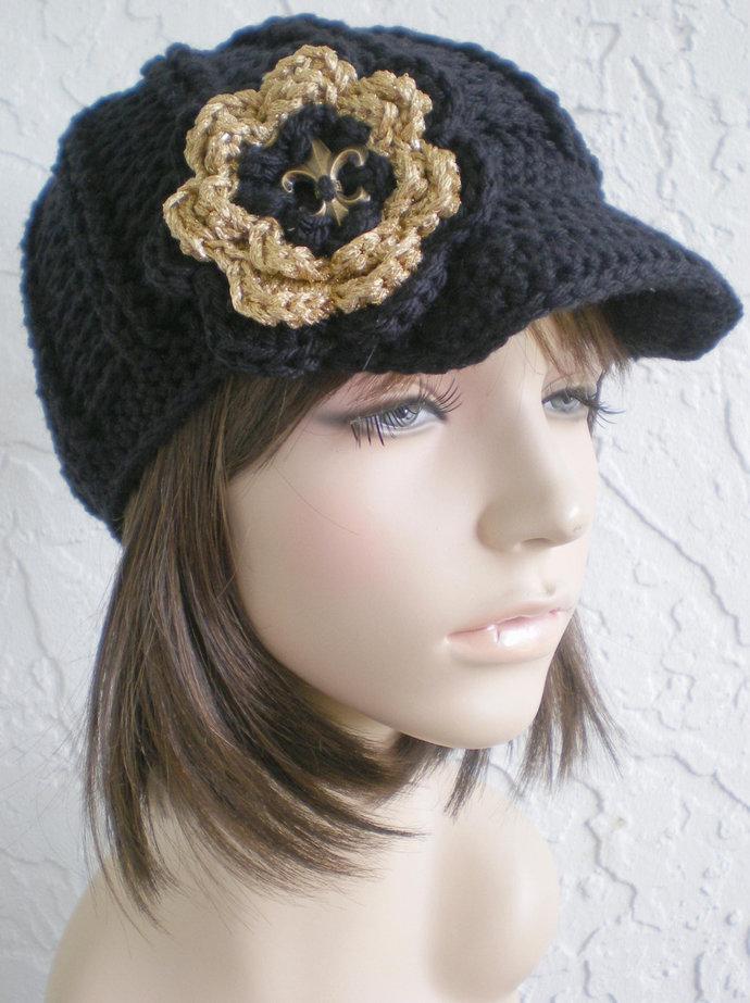 hand crochet newsboy Hat hat team hat cap sports hat womens black hat wool