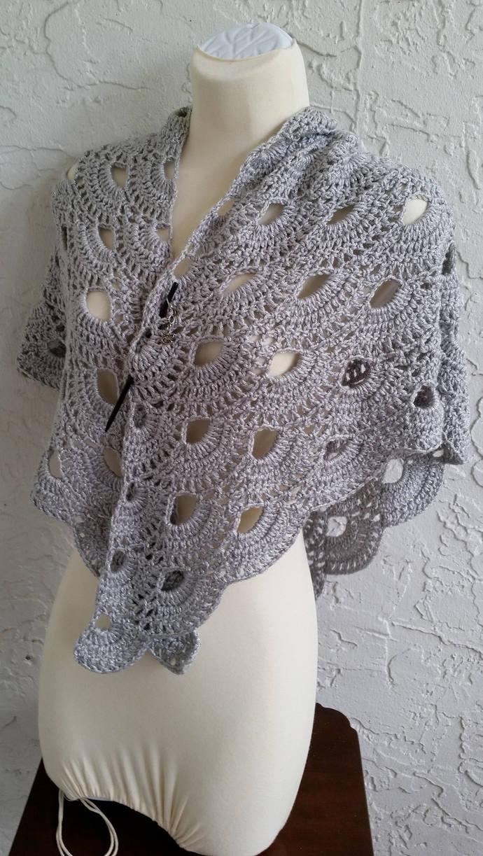 hand crochet Shawl Capelet shoulder wrap womens accessories lacy grey metallic
