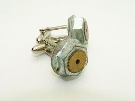 INDUSTRIAL STEAMPUNK GRUNGE CUFFLINKS by TheSteamPunkTrunk