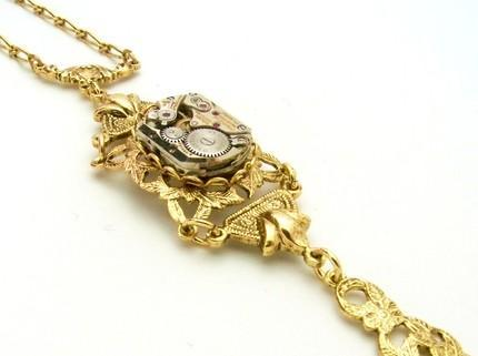 STUNNING NEO-VICTORIAN GOLD TONED FILIGREE STEAMPUNK NECKLACE - MADE