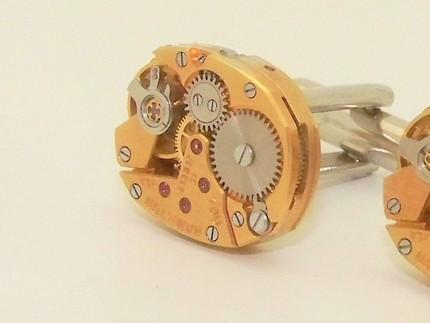 Gorgeous GOLD HAMILTON Pin Striped Steampunk Cuff Links by TheSteamPu