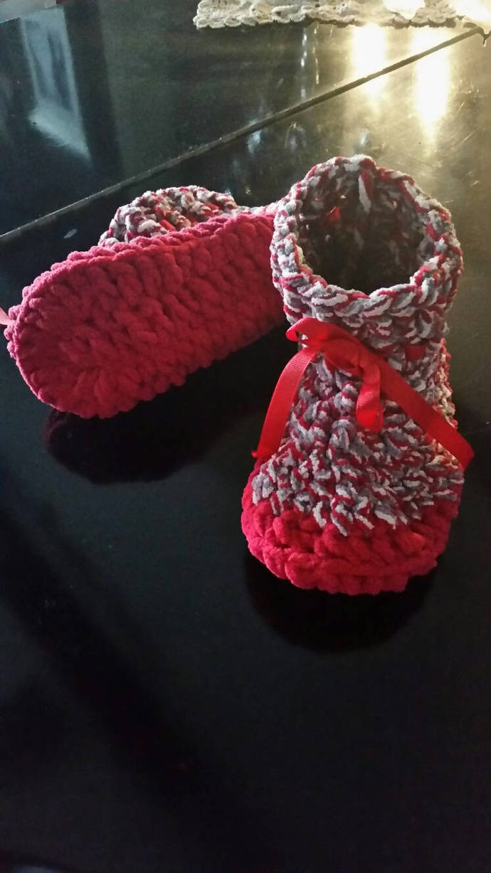 hand crochet cozy women's slippers bootie style slippers red slippers comfy