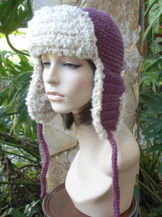hand crochet russian trapper bomber aviator Hat fur pilot hat womens accessories