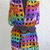 hand crochet shawl capelet vest womens accessories boho multicolor wrap ~ ladder