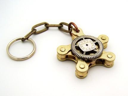 SteamPunk Star Chain Keychain by TheSteamPunkTrunk