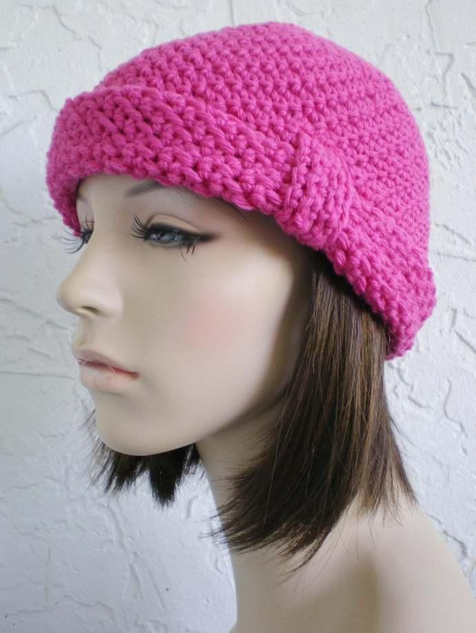 hand crochet cloche hat rolled brim hat women pink hat winter hat wool hat